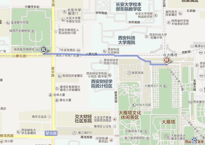 步行近1公里到大雁塔北广场
